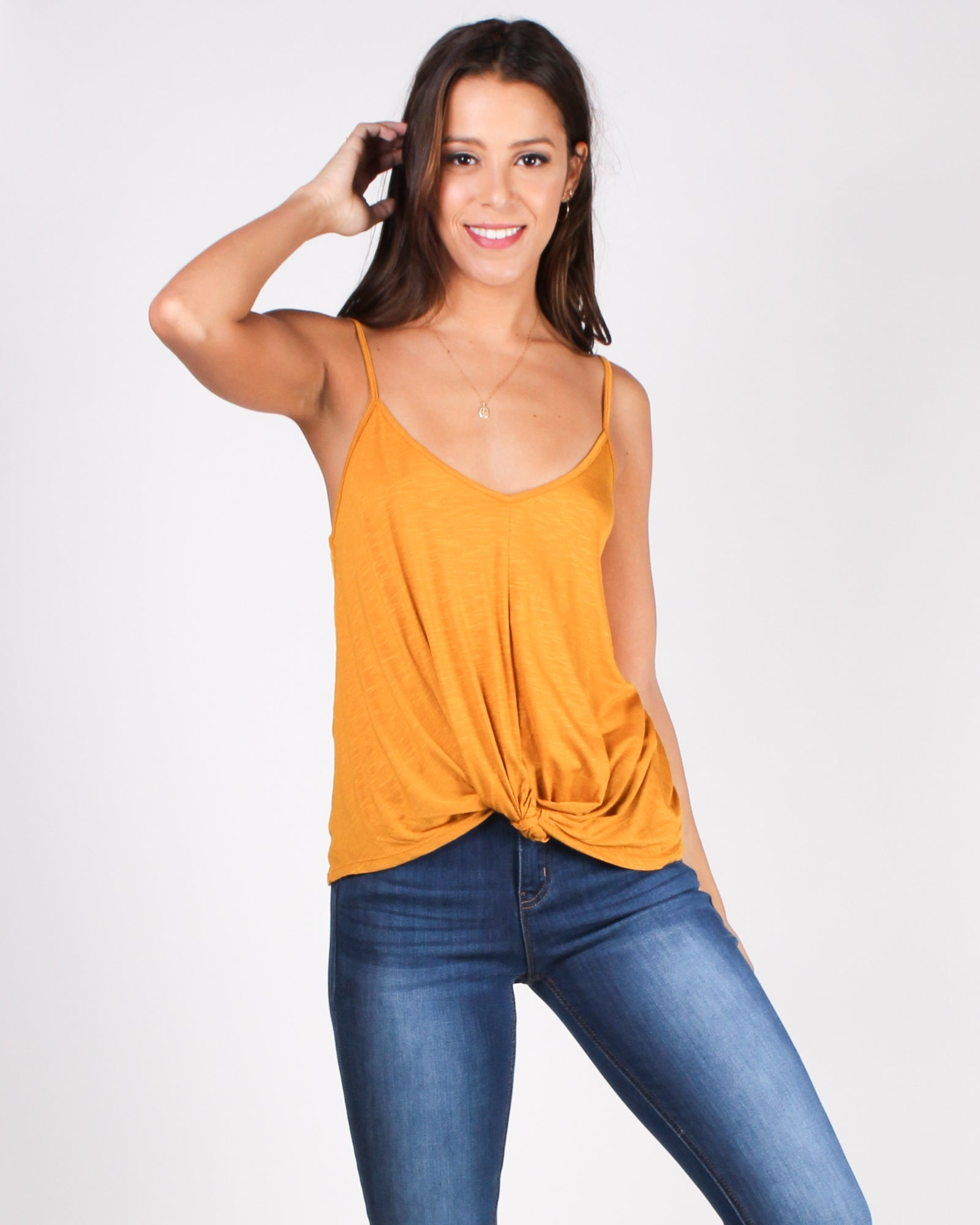 Give Thanks Twisted Knot Tank (Mustard)
