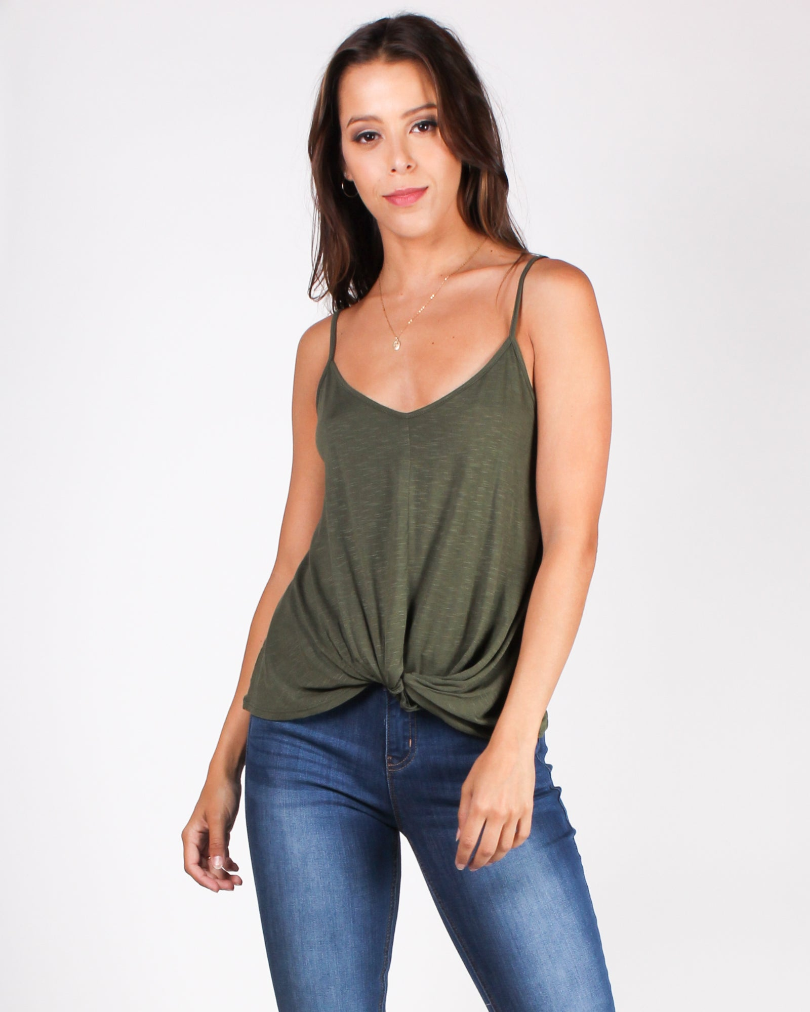 Give Thanks Twisted Knot Tank (Olive)