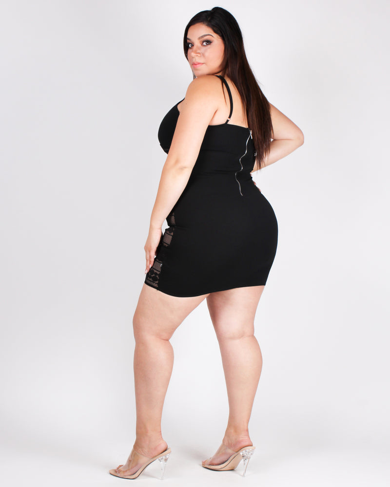 Give Me a Beat Boy Plus Bodycon Dress (Black)