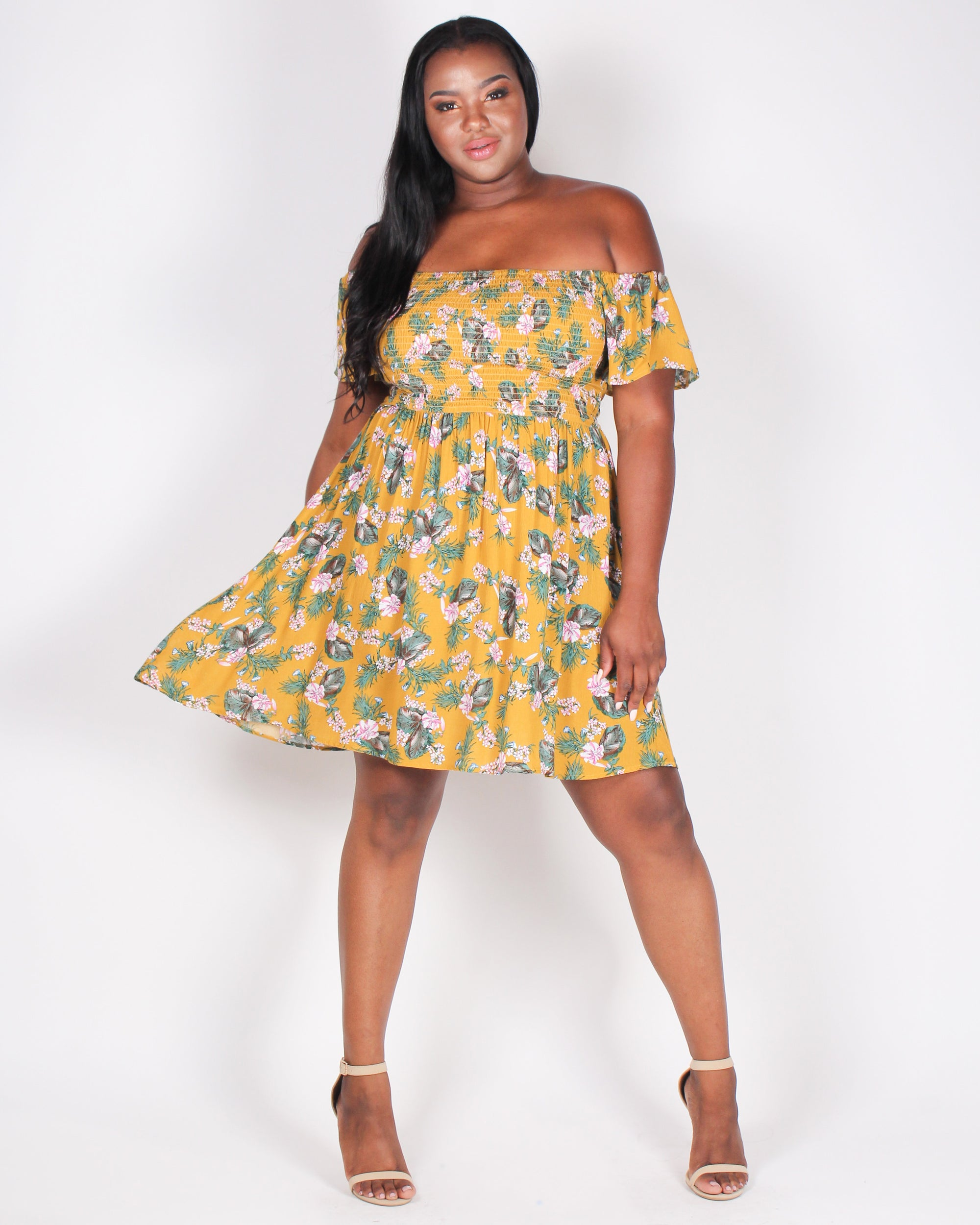Fashion Q Shop Q Floral Escape Off the Shoulder Plus Sundress (Mustard) ITD4106