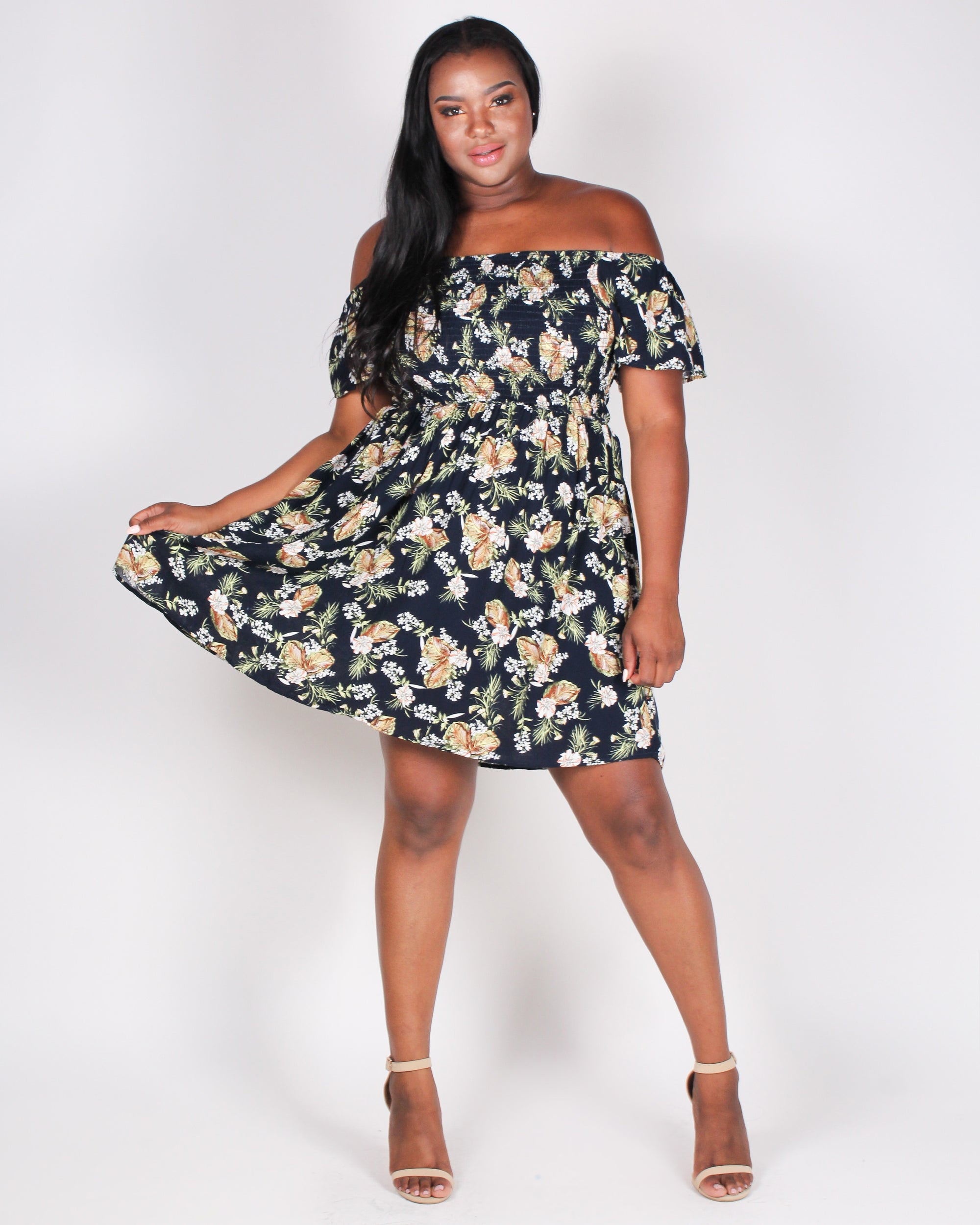 Fashion Q Shop Q Floral Escape Off the Shoulder Plus Sundress (Navy) ITD4106
