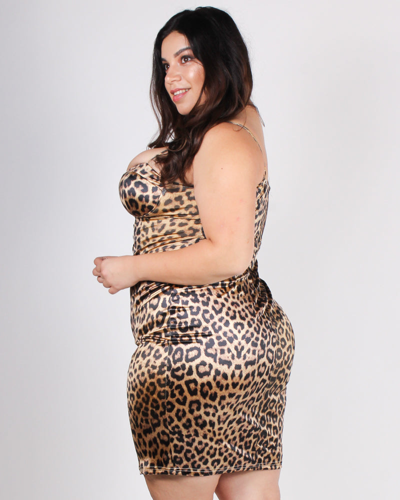 Fashion Q Shop Q Love Me, But Keep Me Wild Cheetah Plus Bodycon Dress (Leopard) ITD4233