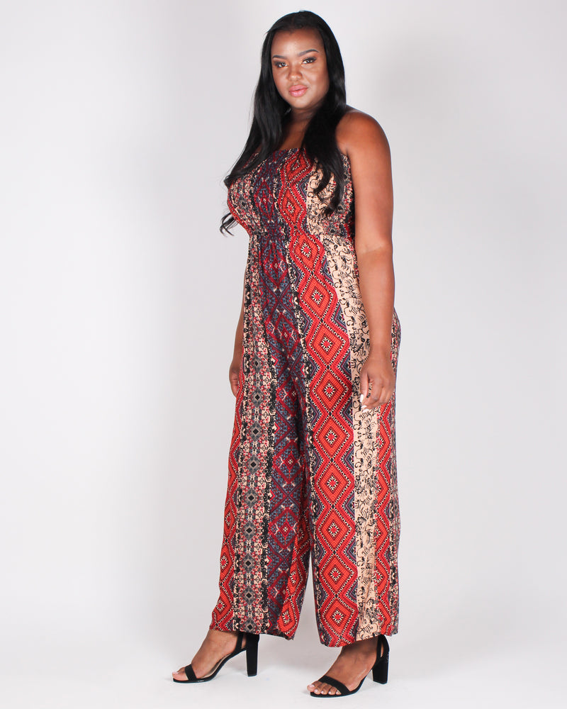 A Little Boho To Brighten Your Day Jumpsuit (Red)