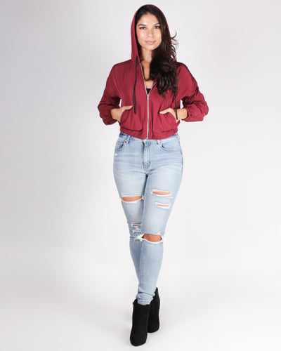 Fashion Q Shop Q The Perfect Girls Crop WindBreaker Jacket (Burgundy) J2297
