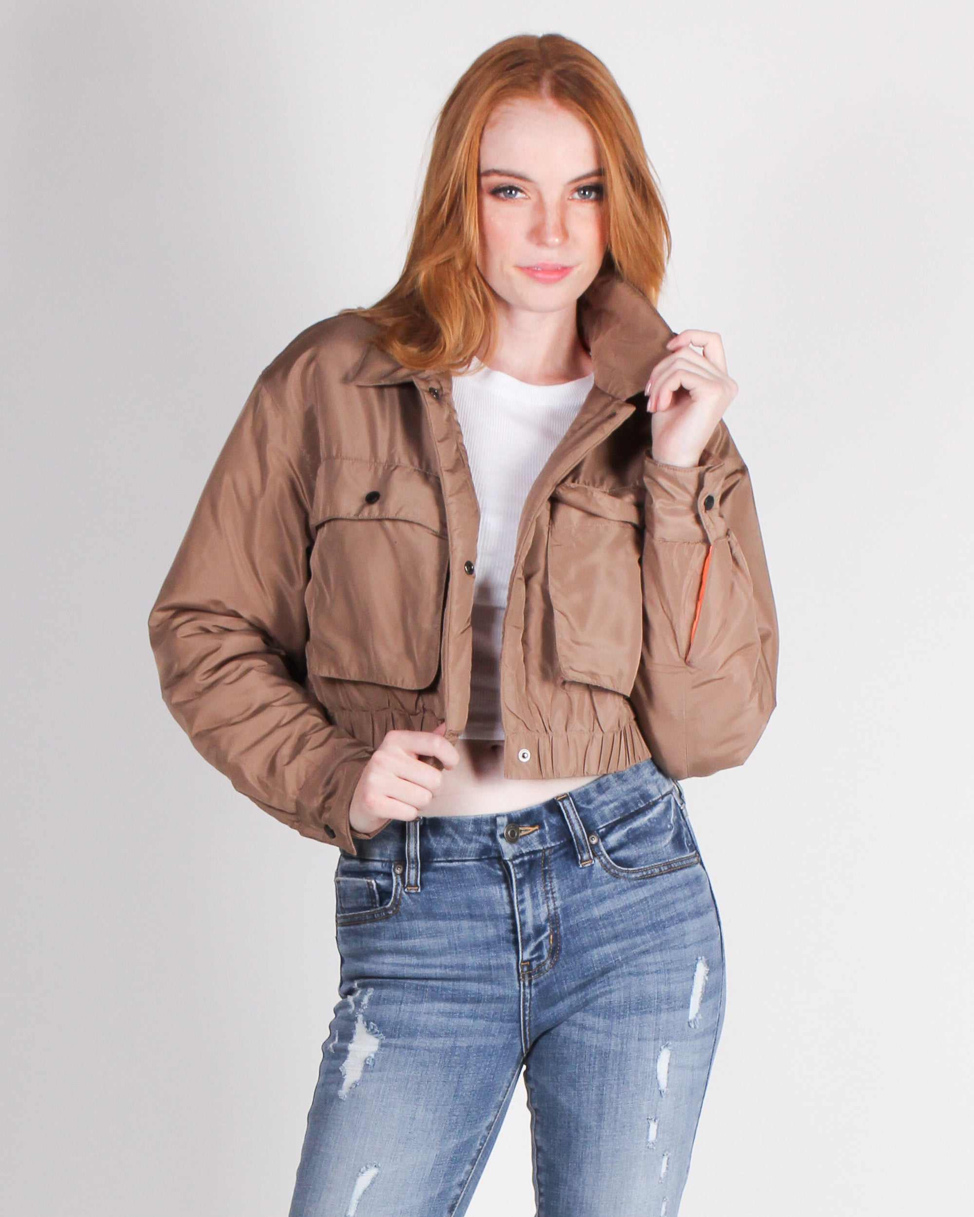 Fashion Q Shop Q Easy to Look This Good Bomber Jacket (Brown) J2340