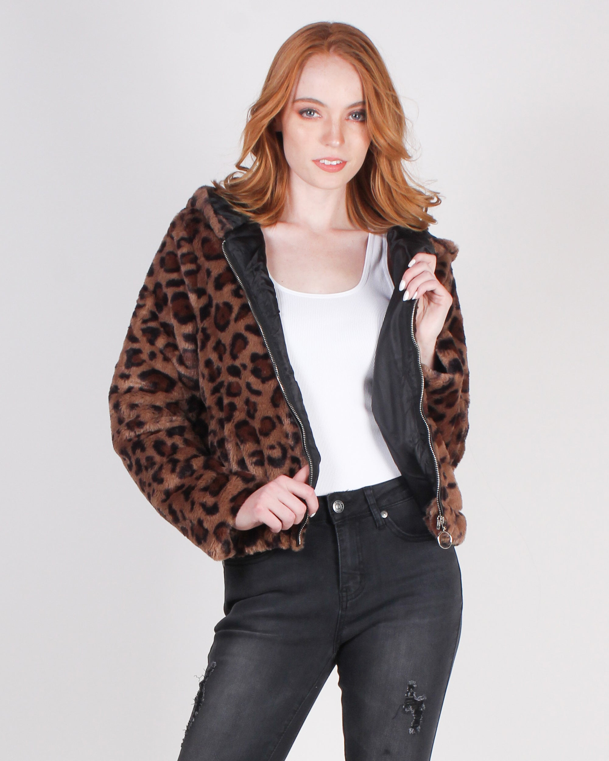 Fashion Q Shop Q Wild Possibilities Cropped Bomber Jacket (Leopard) J380