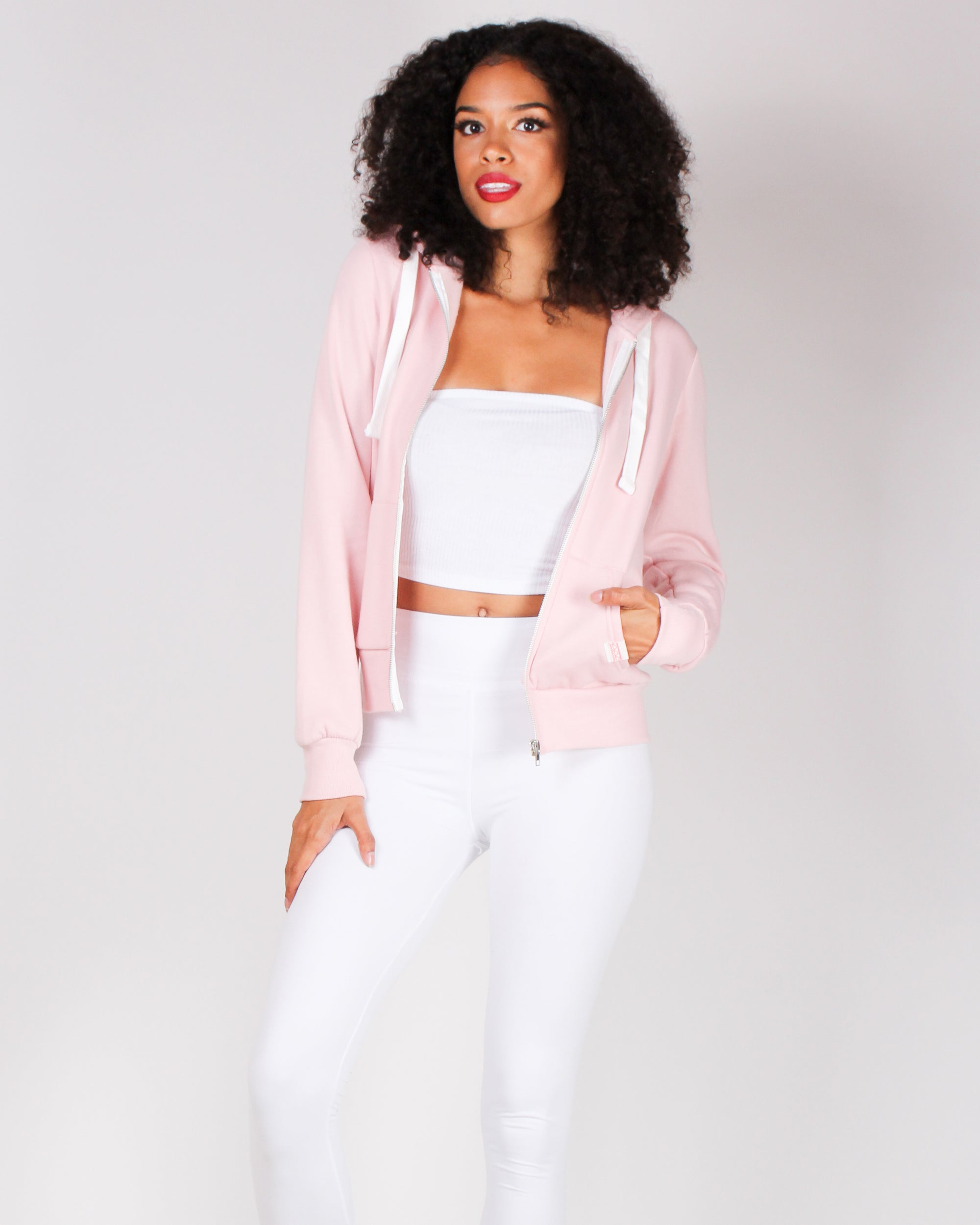 Fashion Q Shop Q Basic Solid Zip Up Jacket (Blush) J415