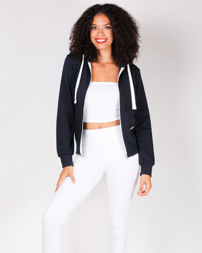 Fashion Q Shop Q Basic Solid Zip Up Jacket (Navy) J415
