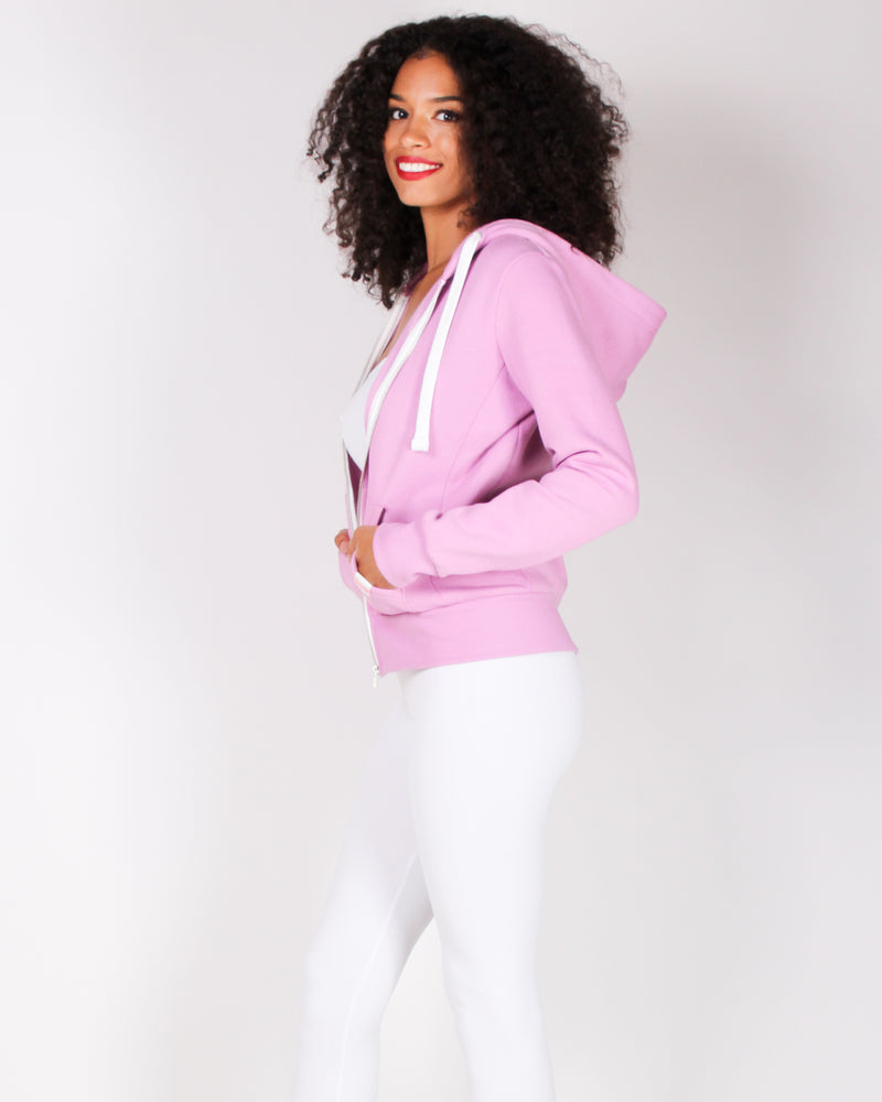 Fashion Q Shop Q Basic Solid Zip Up Jacket (Orchid) J415