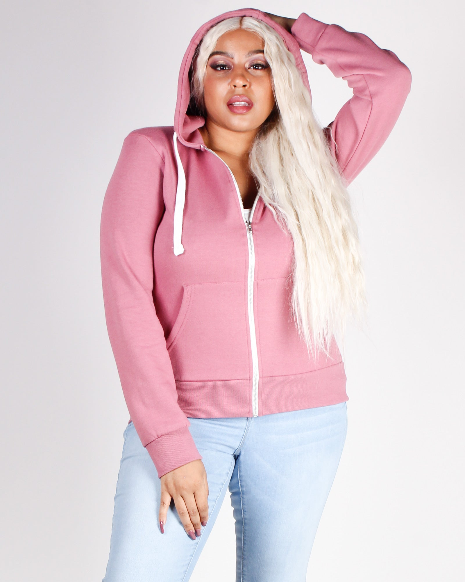 Fashion Q Shop Q Stronger than Yesterday Zip-up Hoodie (Pink) J415B