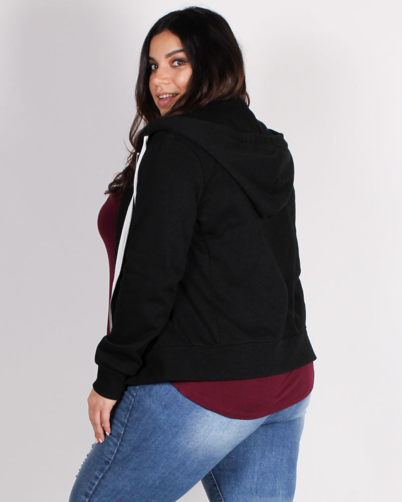 Fashion Q Shop Q Stronger than Yesterday Zip-up Hoodie (Black) J415B