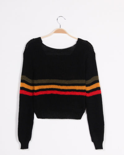Fashion Q Shop Q Rain or Shine Crop Knit  Sweater (Black) J6737