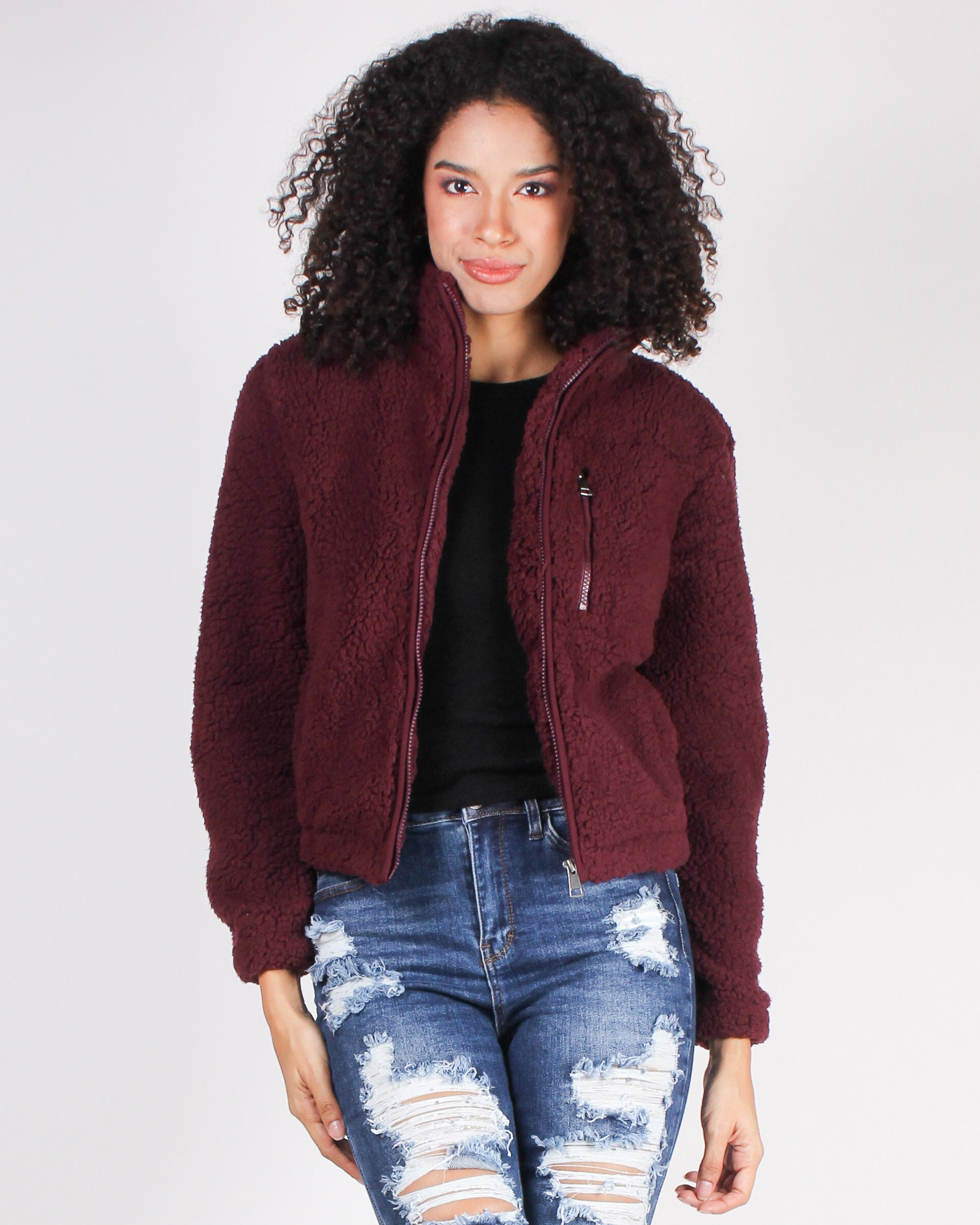 Fashion Q Shop Q I Saw You and the Adventure Began Faux Fur Jacket (Wine) J8020