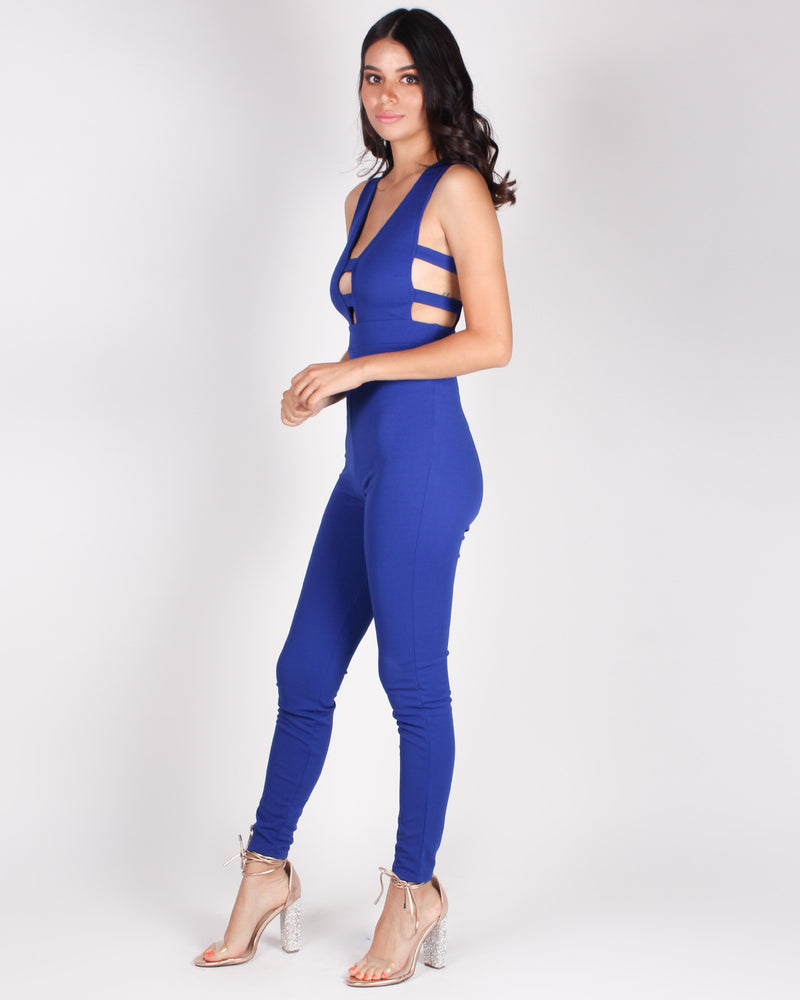 Fashion Q Shop Q Ready for the Weekend Jumpsuit (Royal Blue) J889