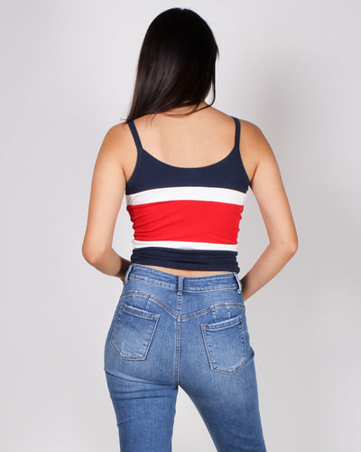 Say Something Colorblock Crop Top (Navy) JC33018