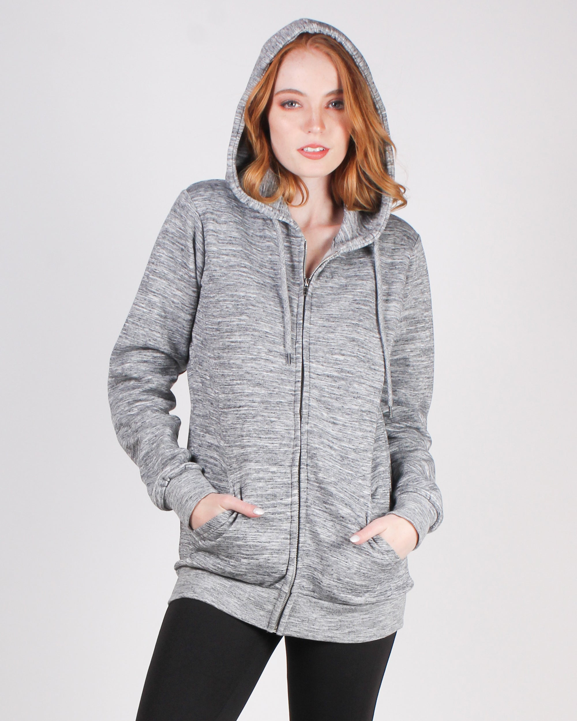 Fashion Q Shop Q Make Yourself Proud Zip-up Hoodie (Heather Grey) JK910