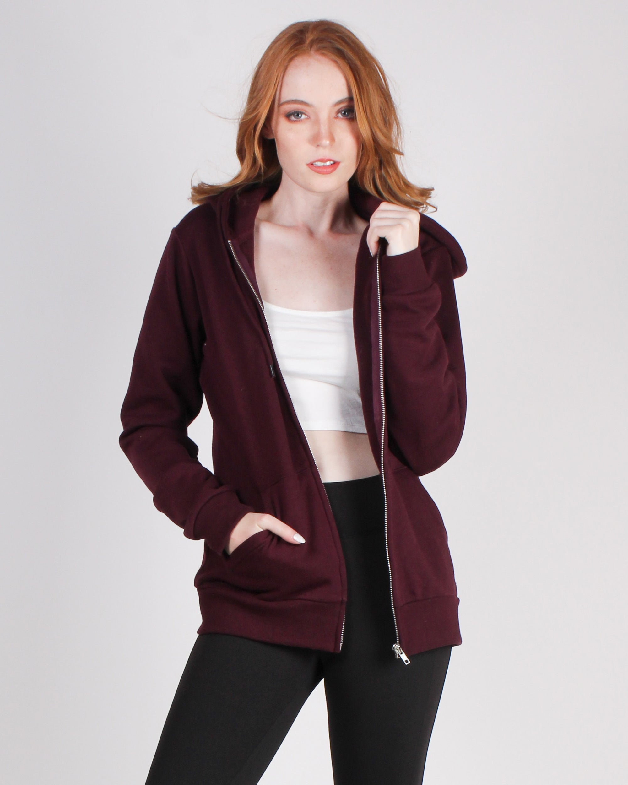 Fashion Q Shop Q Make Yourself Proud Zip-up Hoodie (Merlot) JK910