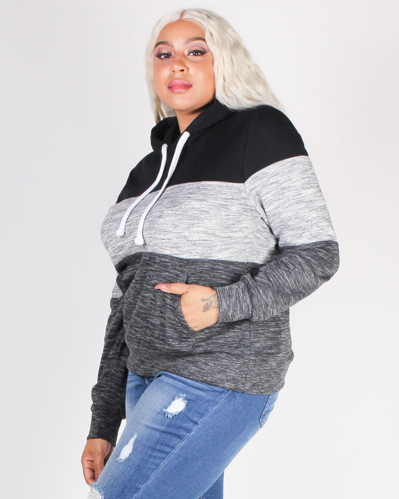 Fashion Q Shop Q The Triple Threat Hooded Sweater JU005B Black