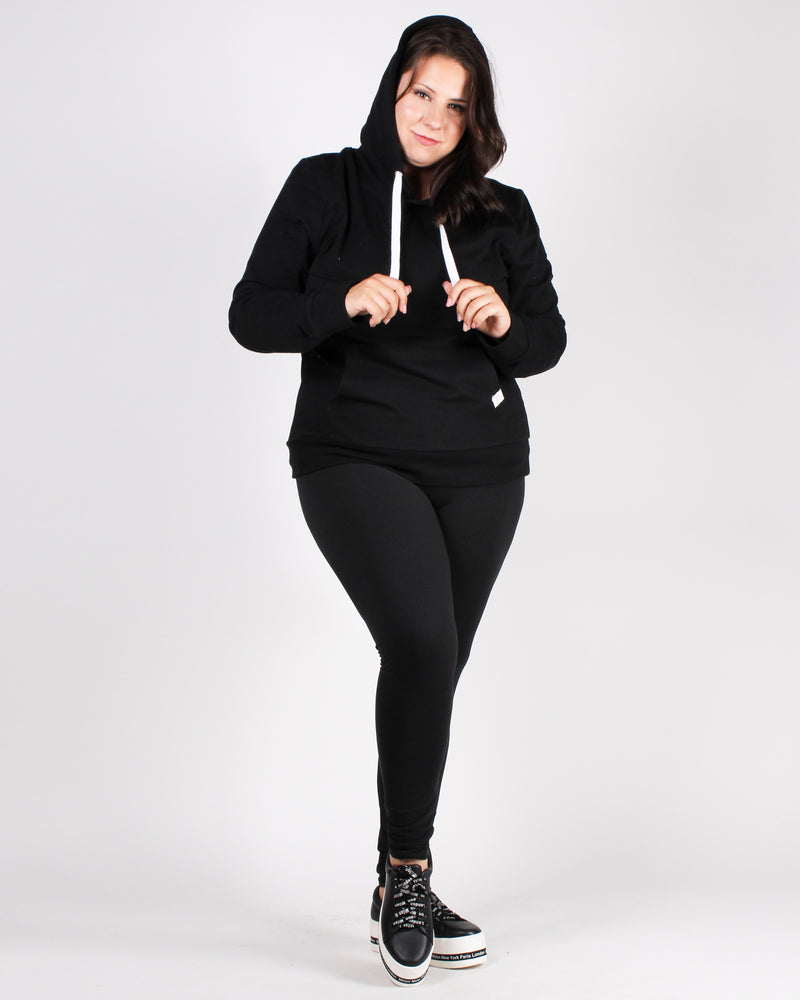 Reaching for the Top Plus Hooded Sweater (Black)