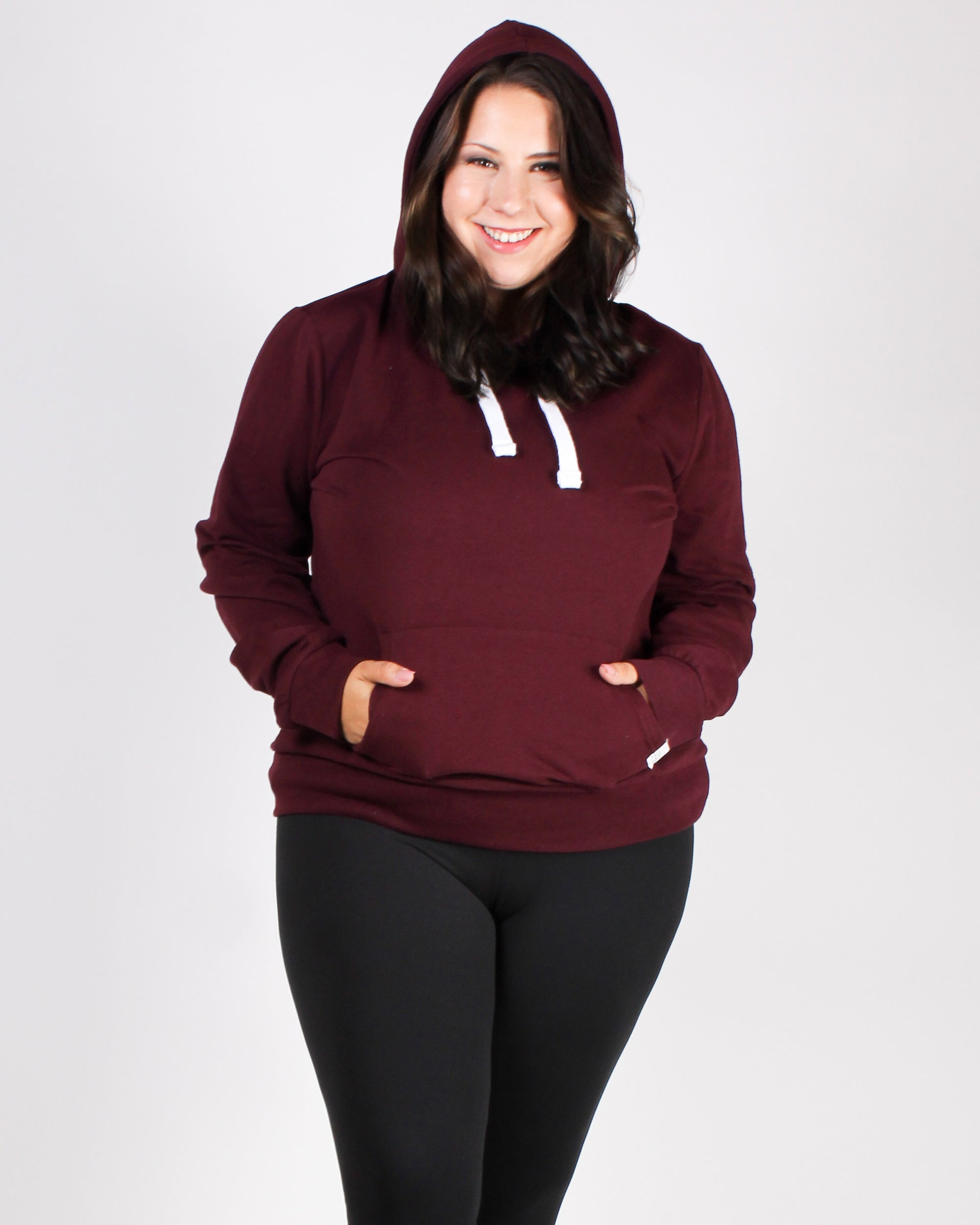 Reaching for the Top Plus Hooded Sweater (Burgundy)