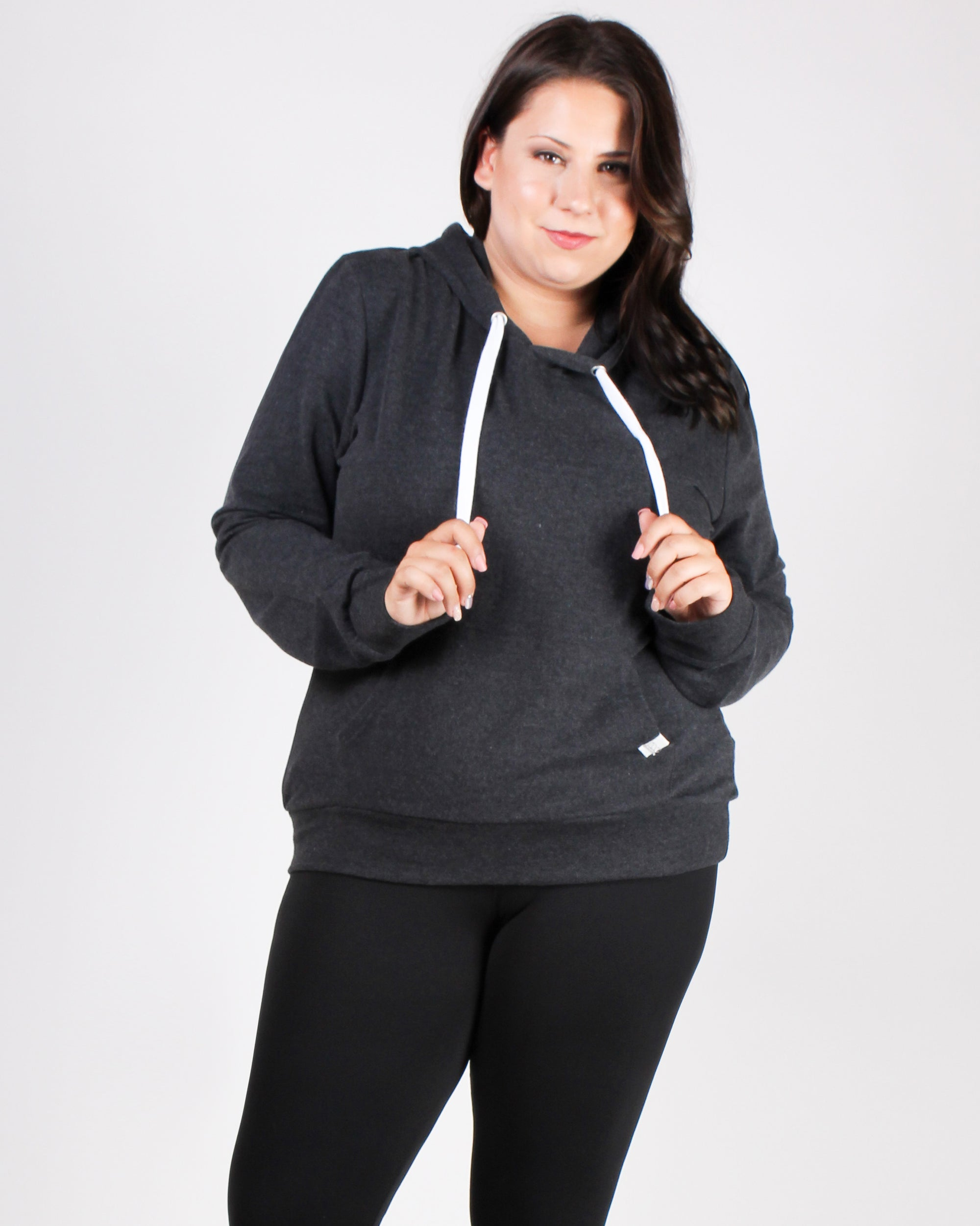 Reaching for the Top Plus Hooded Sweater (Charcoal)