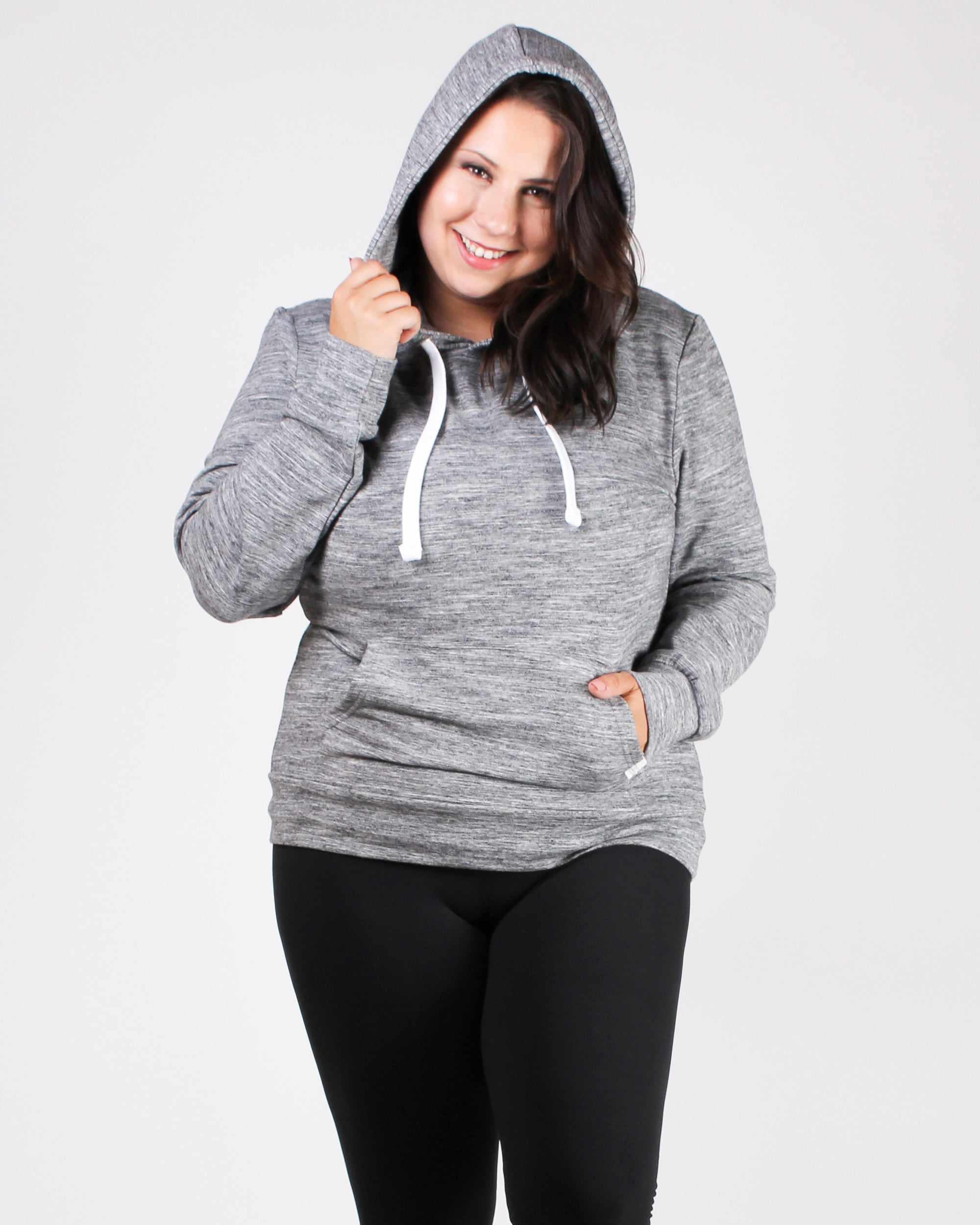 Reaching for the Top Plus Hooded Sweater (Grey)