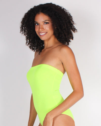 Beauty in Simplicity Tube Top Bodysuit (Neon Lime)