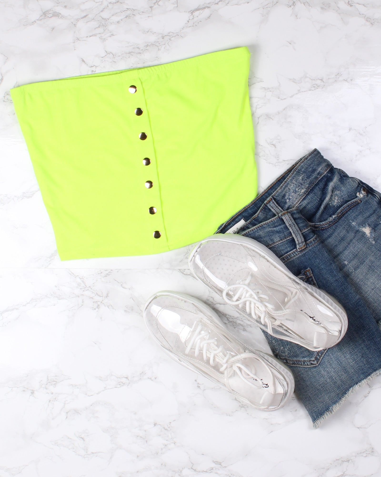 Fashion Q Shop Q Too Blessed Tube Top (Neon Lime) JU36057