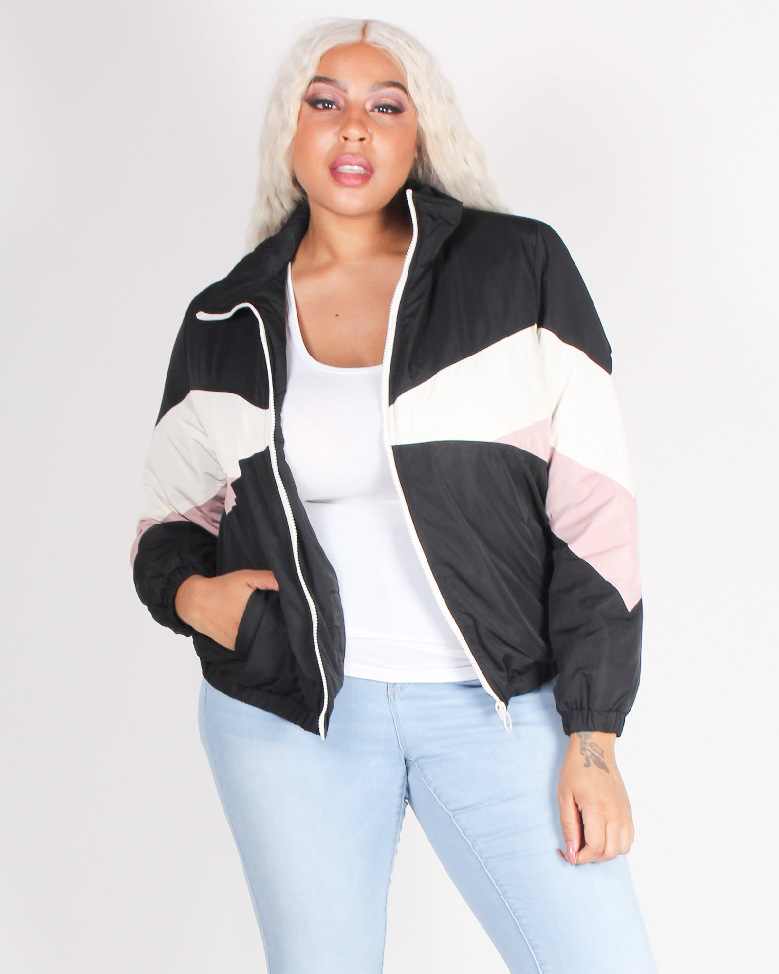Fashion Q Shop Q Indomitable Will Colorblock Bomber JX8072