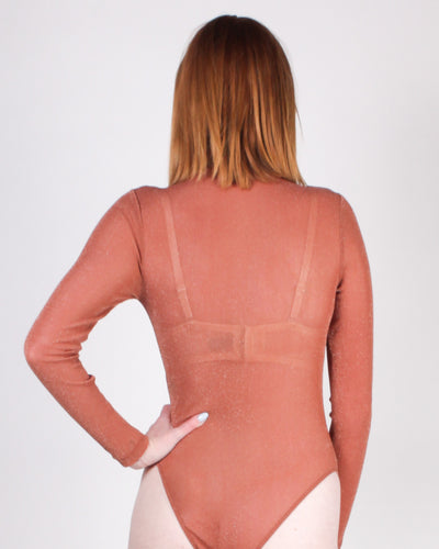 Fashion Q Shop Q Lets Mesh Around Bodysuit (Rust) KT2042