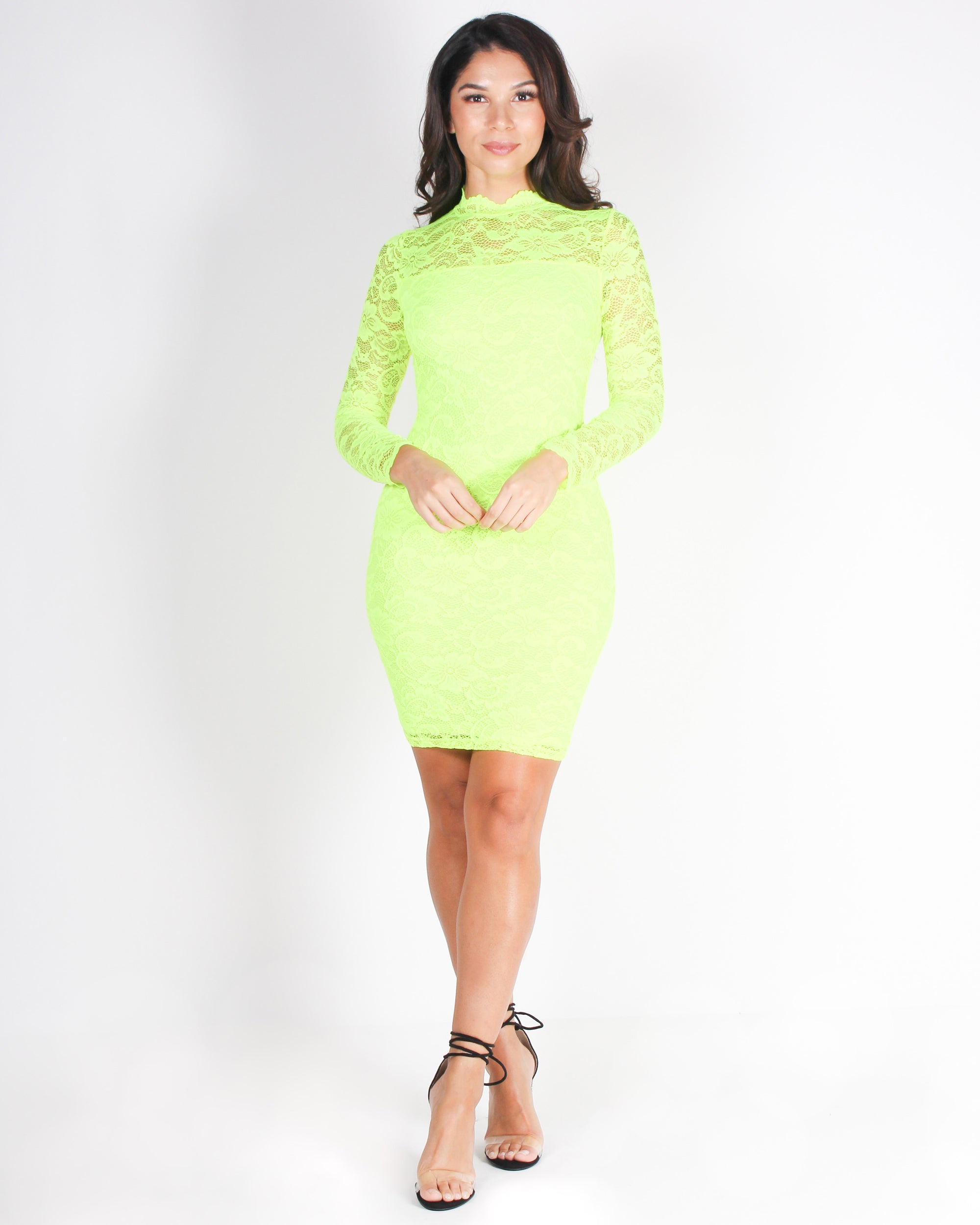 Shop Q Fashion Q Hats Off to a Lacing Good Time Bodycon Dress Neon Lime LD36066L