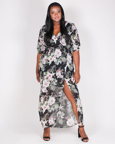 Fashion Q Shop Q Dreaming is Free Floral Plus Maxi Dress (Black) LD7862