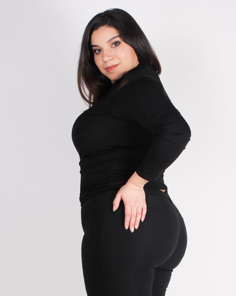 A Meshy Beginning Plus Mock Turtleneck Top (Black)