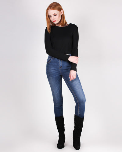 Fashion Q Shop Q Universal Appeal Long Sleeve Top (Black) IM6157T