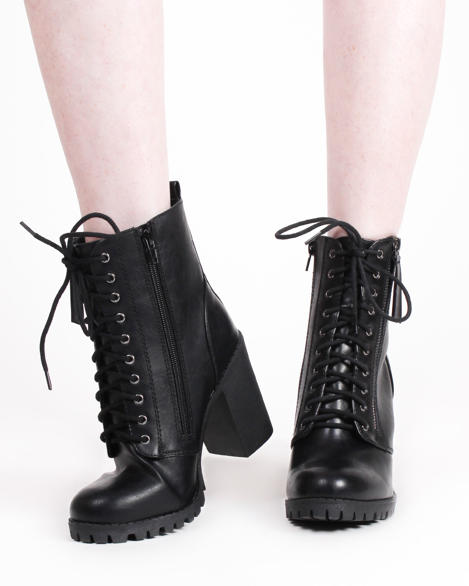 Fashion Q Shop Q The Highlands Combat Boot Heels (Black) MALIA-S
