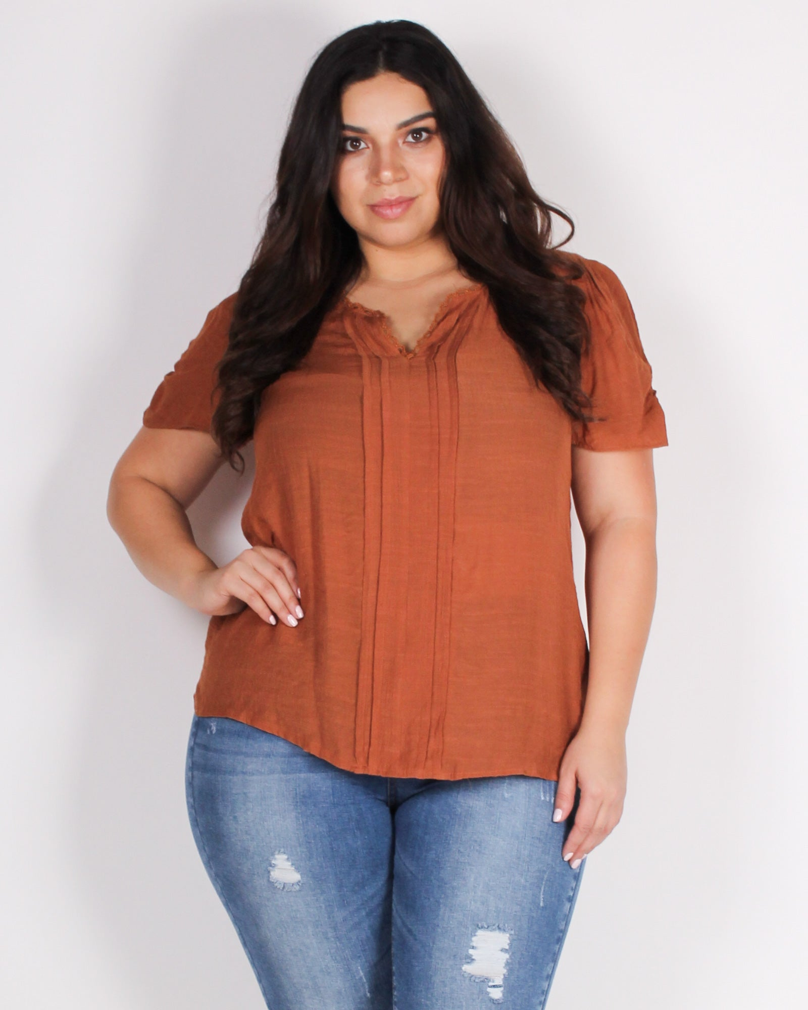 Fashion Q Shop Q Charmed, I'm Sure Plus Blouse (Rust) PEM5439