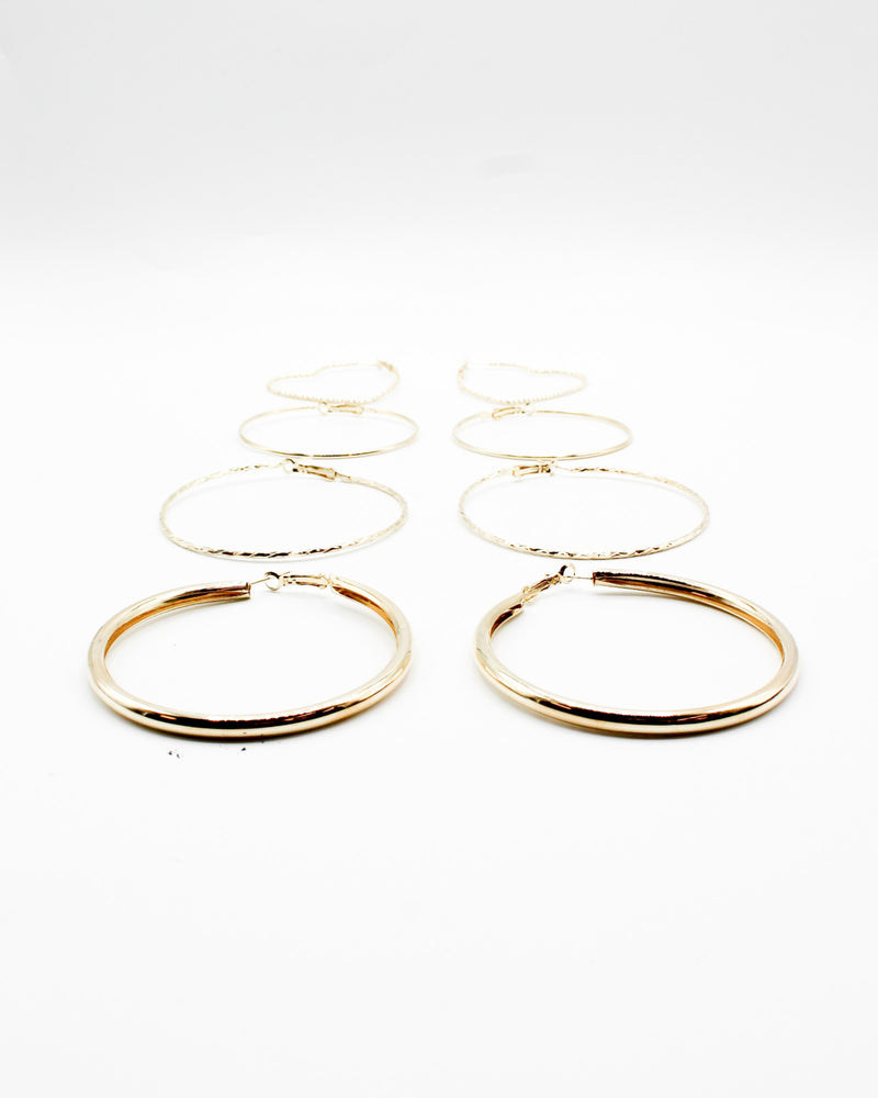 Fashion Q Shop Q Start Each Day with a Grateful Heart Hoop Earring Set (Gold) PER-8427