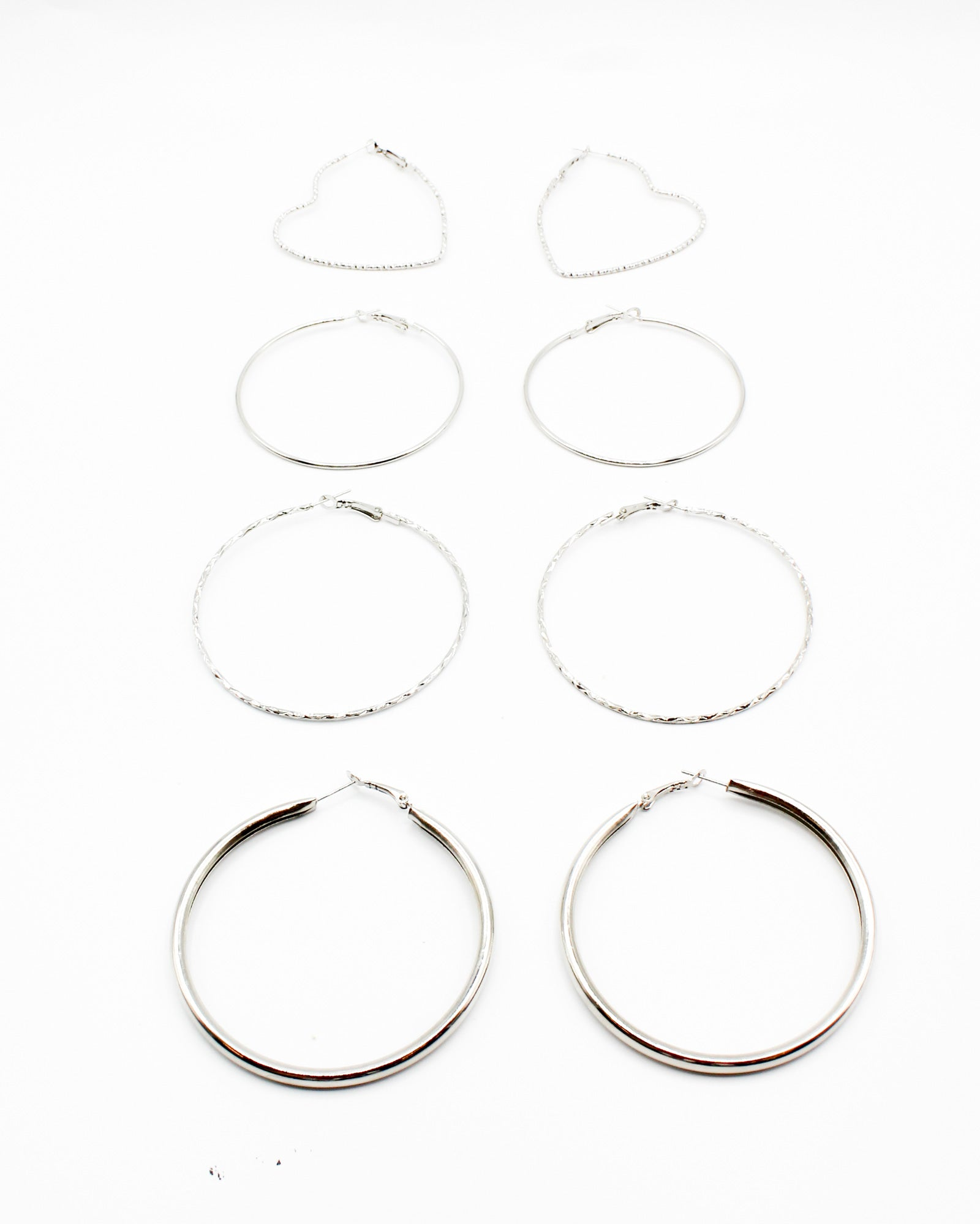 Fashion Q Shop Q Start Each Day with a Grateful Heart Hoop Earring Set (Silver) PER-8427