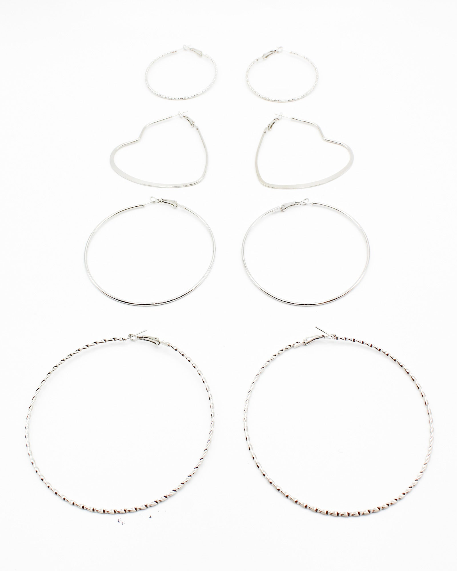 Fashion Q Shop Q A Simple Twist of Fate Hoop Earring Set (Silver) PER-8430