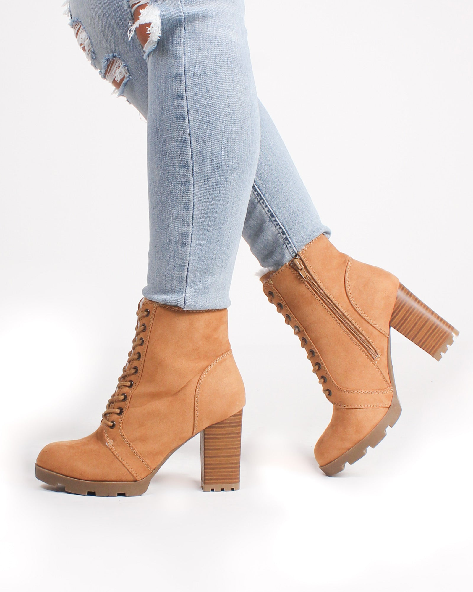 Fashion Q Shop Q Eugene Combat Booties (Tan) PILATE-05
