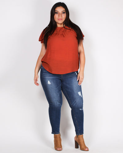 Fashion Q Shop Q Time to be Awesome is Now Plus Top (Rust) PTB5169