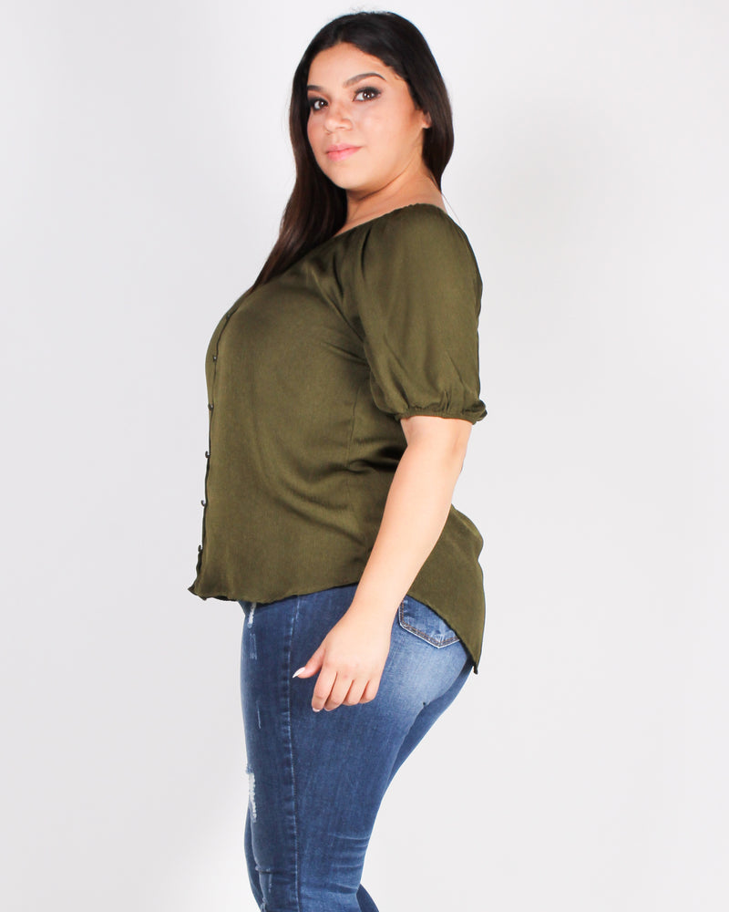 Fashion Q Shop Q Today is Your Day Plus Blouse (Olive) PTB5226