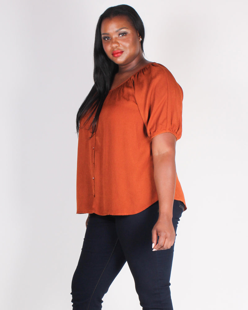 Fashion Q Shop Q Today is Your Day Plus Blouse (Rust) PTB5226