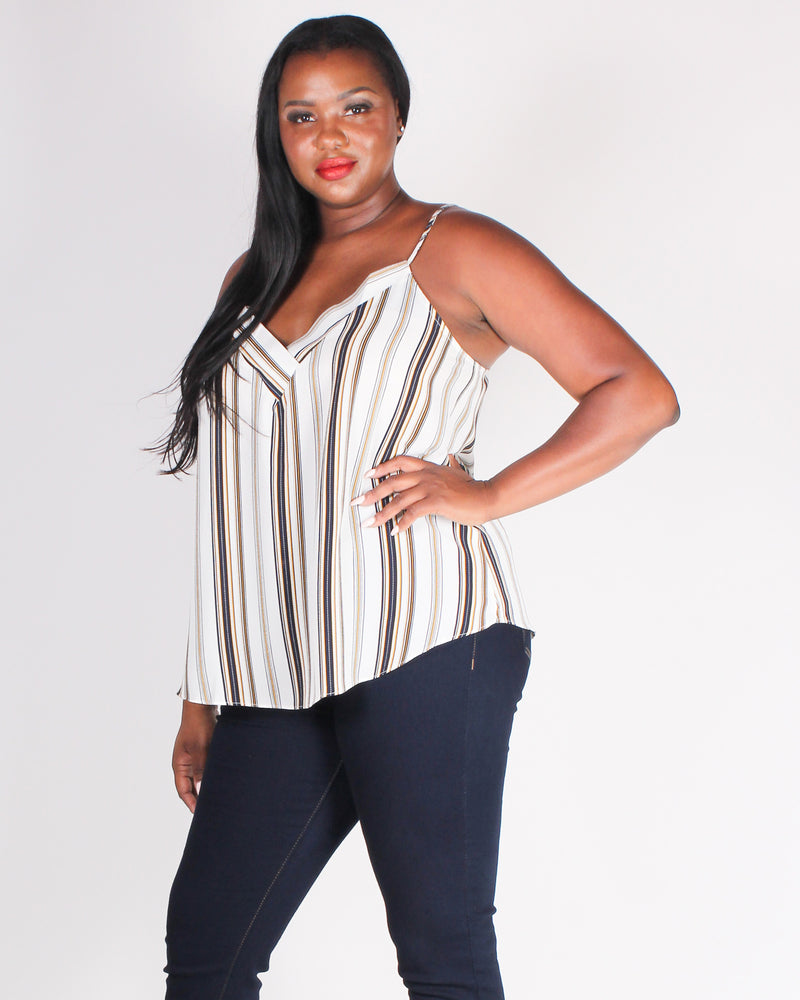 Fashion Q Shop Q Strength Grows in a Striped Plus Blouse (Ivory) PTB5232