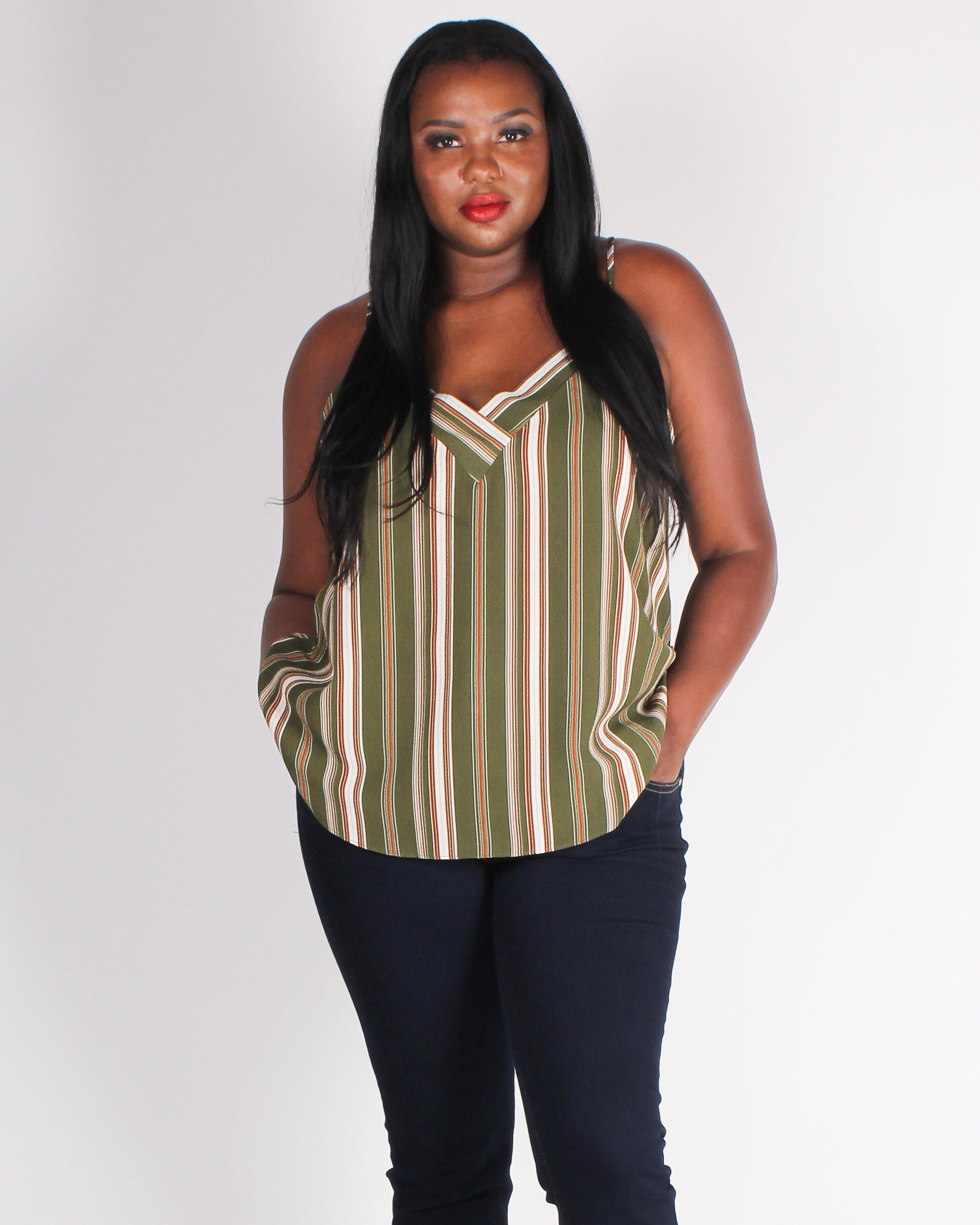 Fashion Q Shop Q Strength Grows in a Striped Plus Blouse (Olive) PTB5232