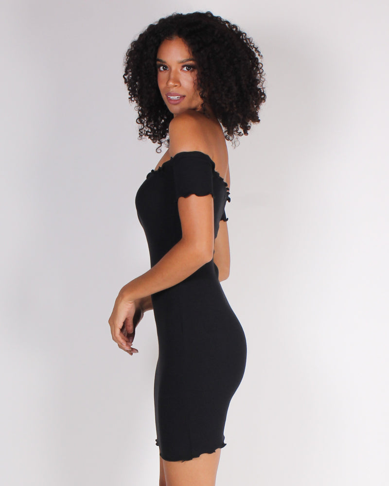 Fashion Q Shop Q Pretty and Witty and Bright Off the Shoulder Bodycon Dress (Black) RD31781