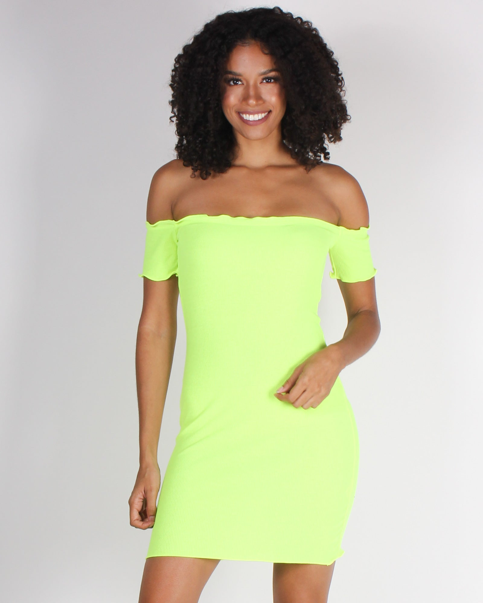 Fashion Q Shop Q Pretty and Witty and Bright Off the Shoulder Bodycon Dress (Neon Green) RD31781