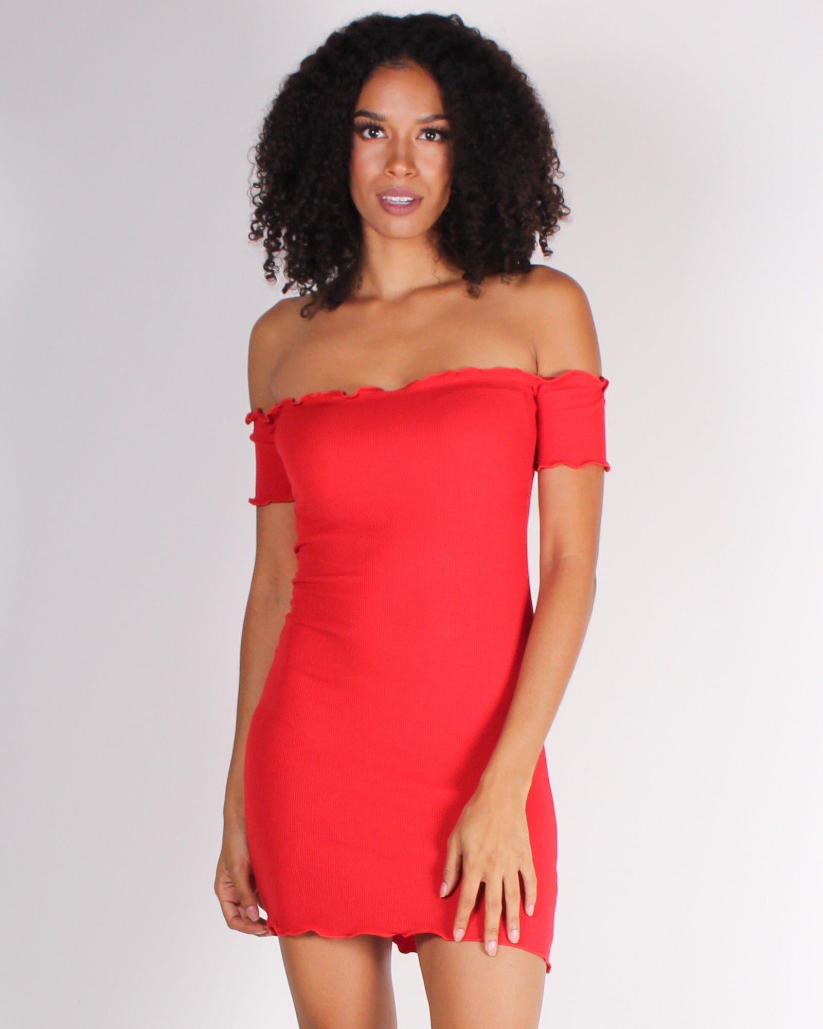 Fashion Q Shop QPretty and Witty and Bright Off the Shoulder Bodycon Dress (Red) RD31781