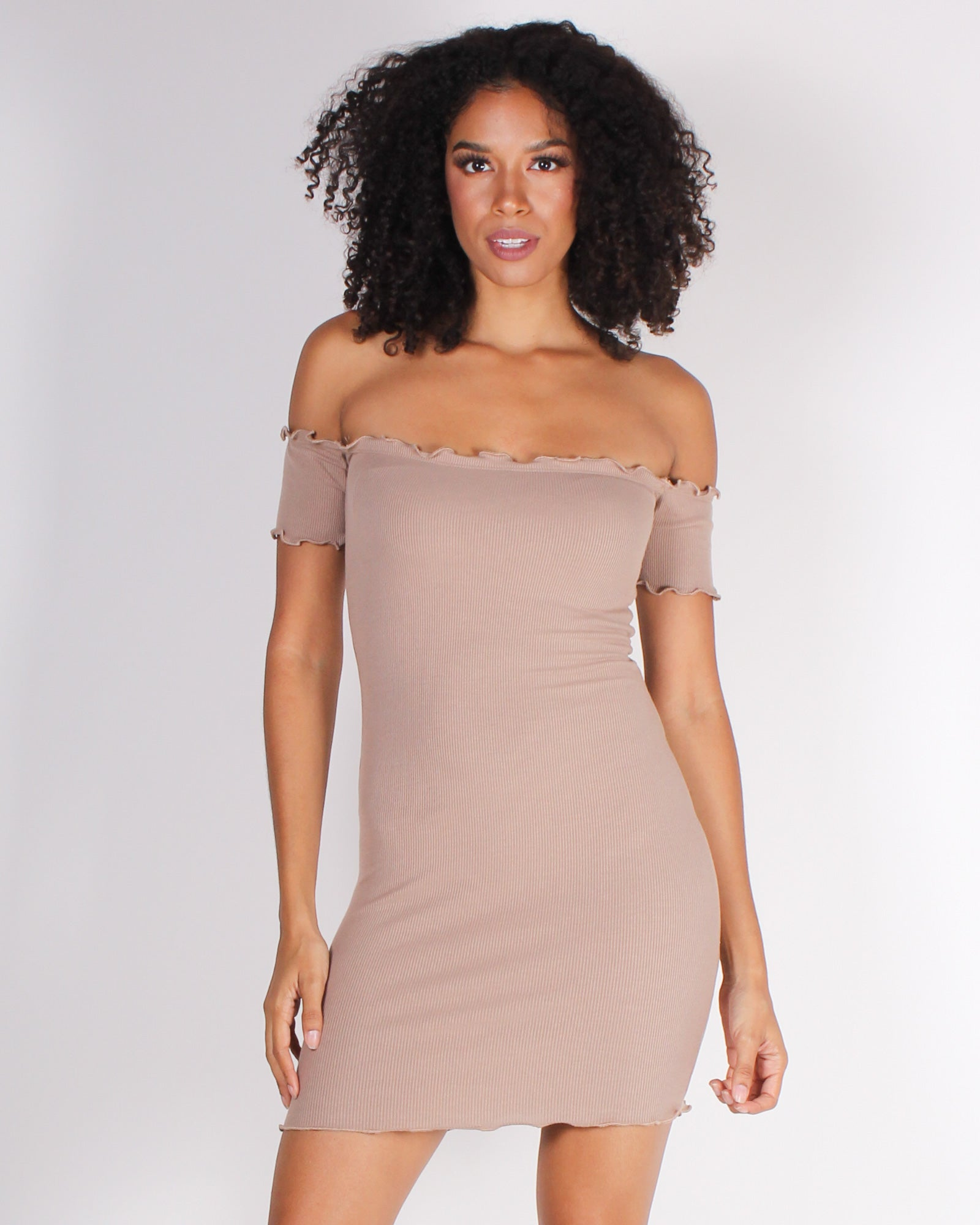 Fashion Q Shop Q Pretty and Witty and Bright Off the Shoulder Bodycon Dress (Taupe) RD31781