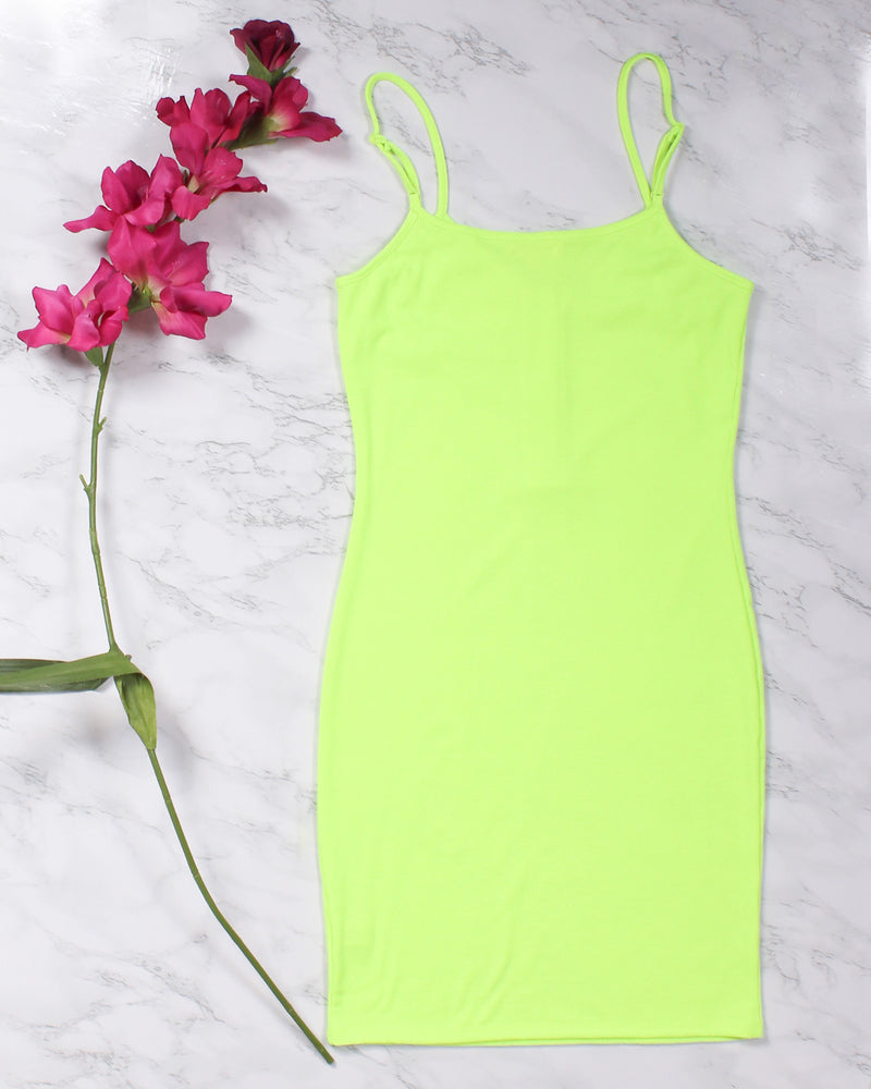 Fashion Q Shop Q Know Your Worth Bodycon Dress (Neon Lime) RD35189